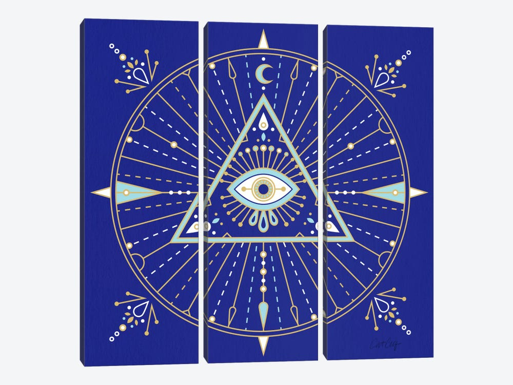 Evil Eye Mandala II by Cat Coquillette 3-piece Canvas Print