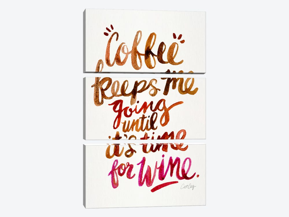 From Coffee To Wine II by Cat Coquillette 3-piece Canvas Art Print