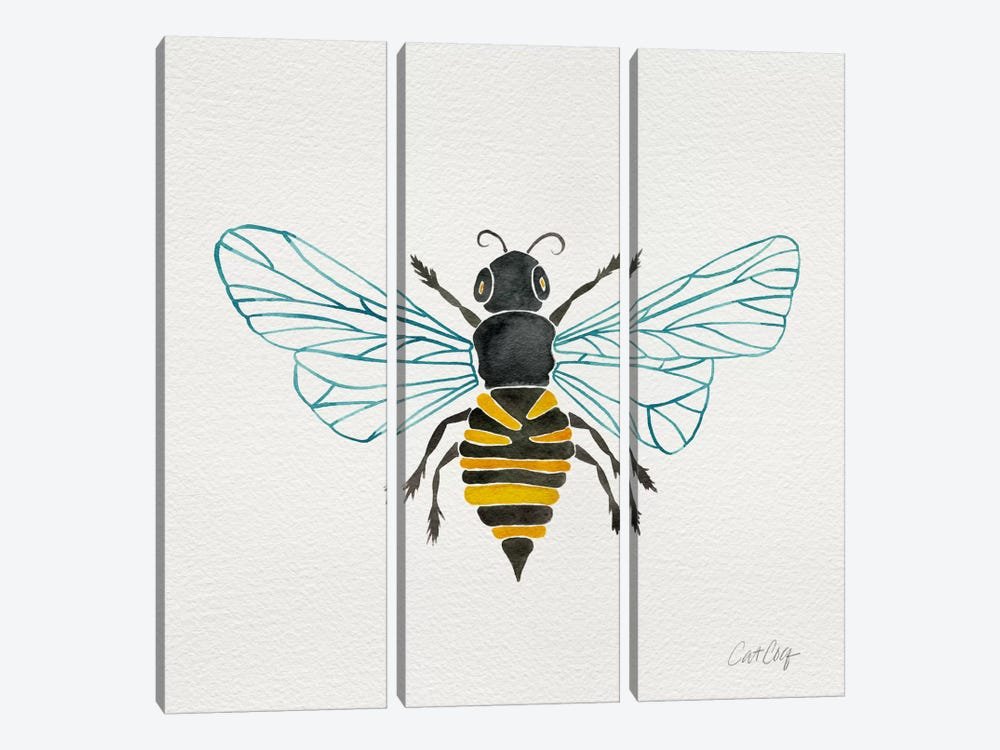 Lone Bee I by Cat Coquillette 3-piece Canvas Art Print