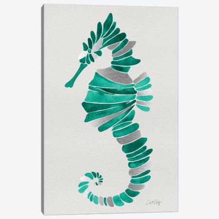 Lone Seahorse Canvas Print #CCE227} by Cat Coquillette Canvas Wall Art