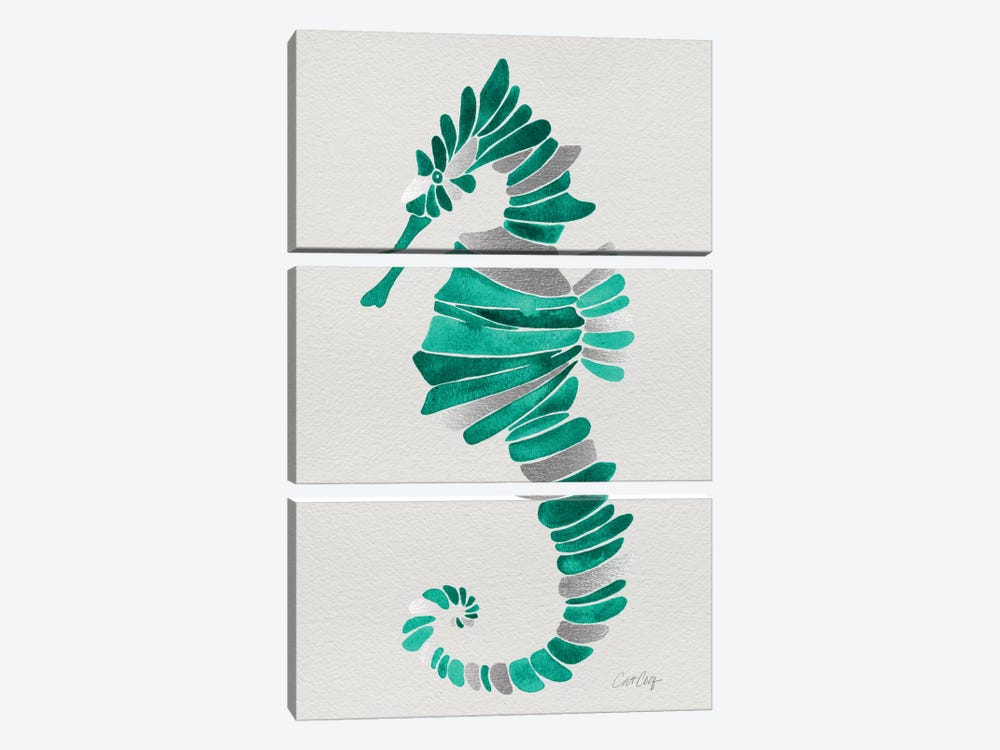 Lone Seahorse by Cat Coquillette 3-piece Canvas Art