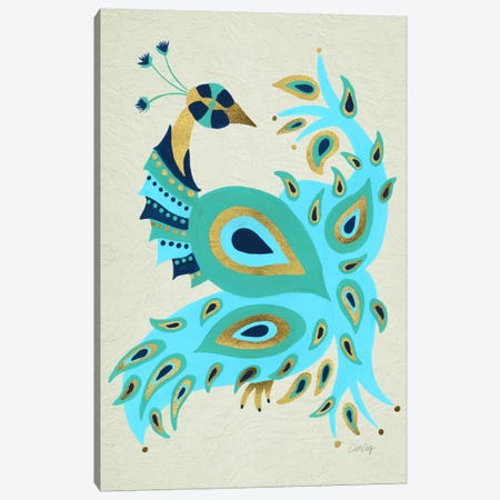 Peacock I Canvas Print #CCE238} by Cat Coquillette Canvas Artwork