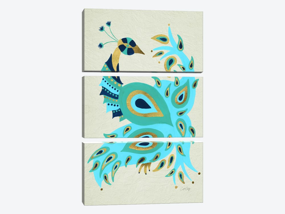 Peacock I by Cat Coquillette 3-piece Canvas Wall Art