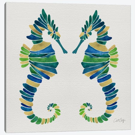 Seahorse Duo I Canvas Print #CCE251} by Cat Coquillette Canvas Art