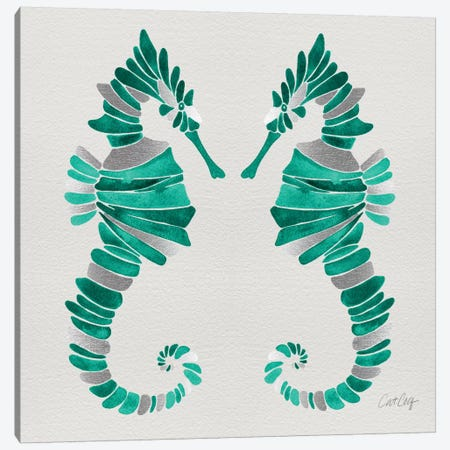 Seahorse Duo II Canvas Print #CCE252} by Cat Coquillette Canvas Wall Art