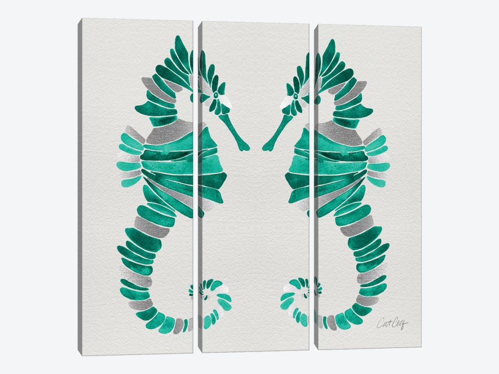Seahorse Duo II by Cat Coquillette 3-piece Canvas Artwork