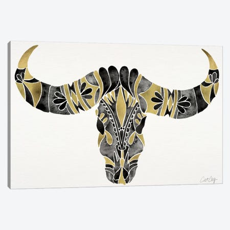 Water Buffalo Skull IV Canvas Print #CCE278} by Cat Coquillette Canvas Artwork