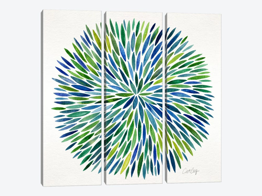 Watercolor Burst I by Cat Coquillette 3-piece Canvas Print