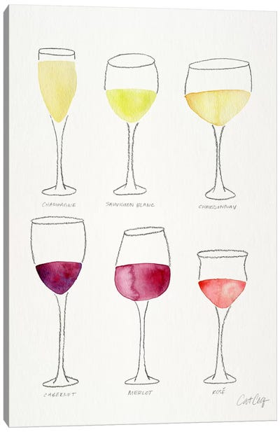 Wine Glasses by Cat Coquillette Canvas Art Print