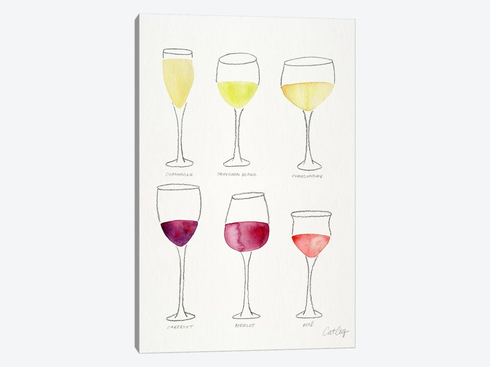 Wine Glasses by Cat Coquillette 1-piece Canvas Art