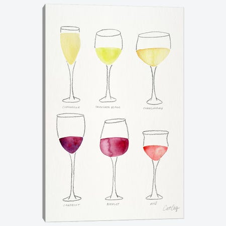 Wine Glasses Canvas Print #CCE285} by Cat Coquillette Canvas Artwork