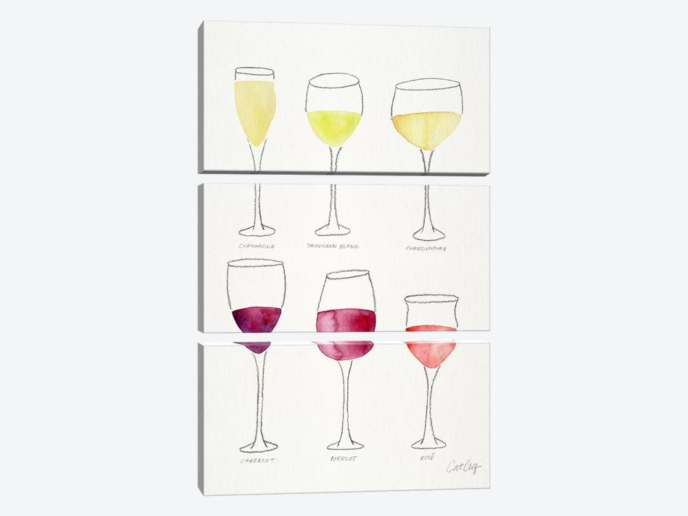 Wine Glasses by Cat Coquillette 3-piece Canvas Wall Art