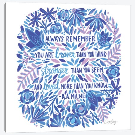 Always Remember, Indigo Canvas Print #CCE286} by Cat Coquillette Canvas Artwork
