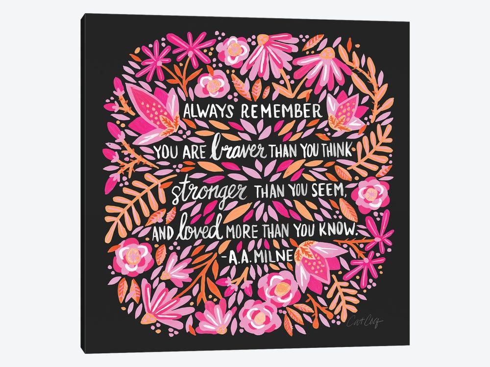 Always Remember, Pink & Charcoal by Cat Coquillette 1-piece Canvas Art