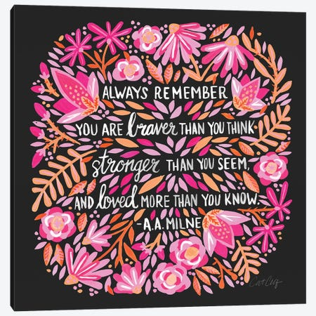 Always Remember, Pink & Charcoal Canvas Print #CCE287} by Cat Coquillette Canvas Artwork