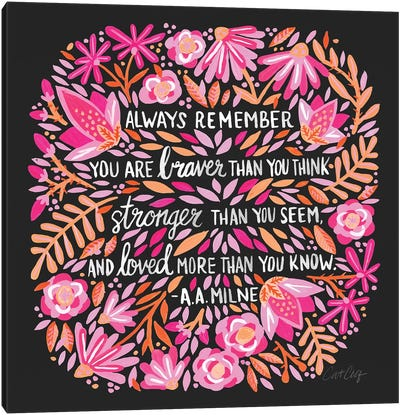 Always Remember, Pink & Charcoal Canvas Art Print