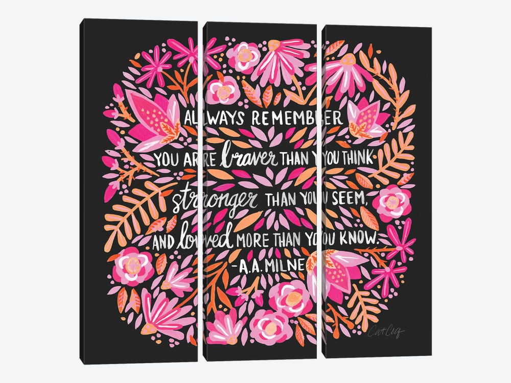 Always Remember, Pink & Charcoal by Cat Coquillette 3-piece Canvas Artwork