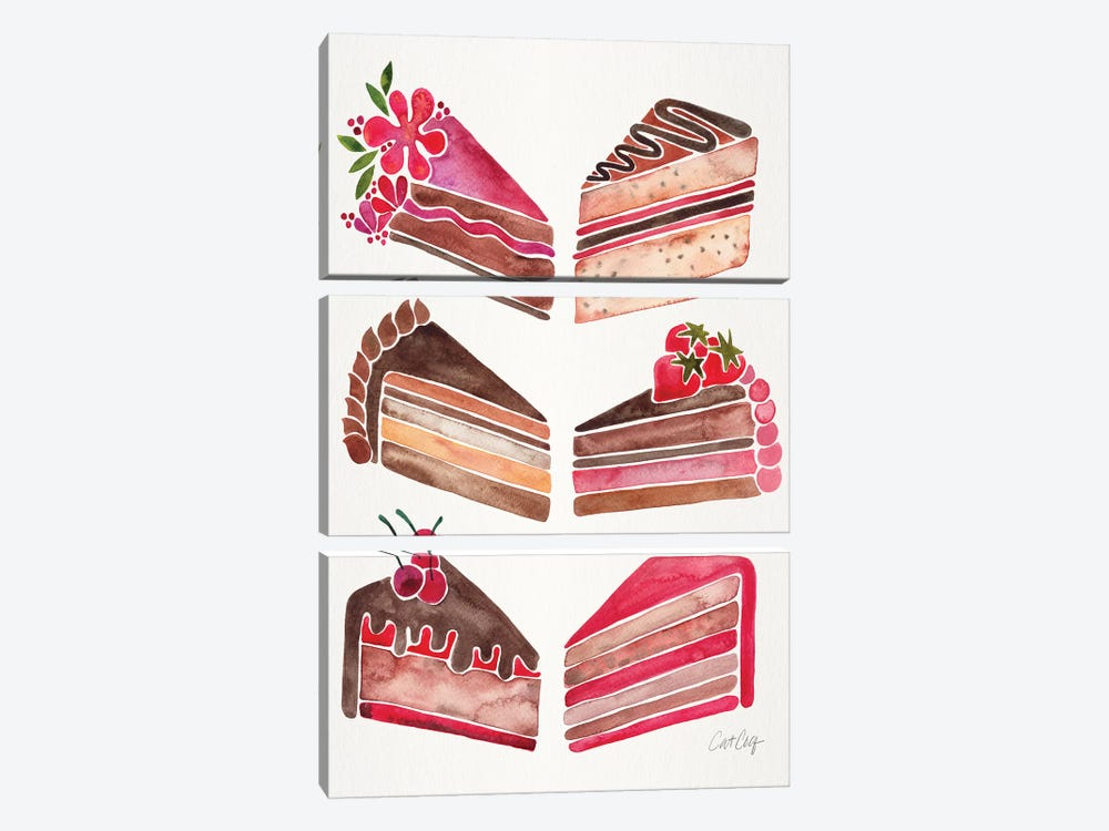 Cake Slices, Original by Cat Coquillette 3-piece Art Print