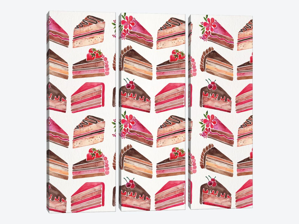 Cake Slices, Original Pattern by Cat Coquillette 3-piece Canvas Wall Art