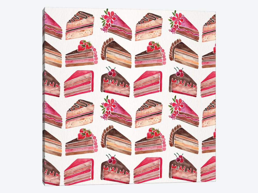 Cake Slices, Original Pattern by Cat Coquillette 1-piece Canvas Art