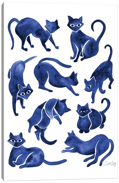 Cat Positions, Navy Canvas Art Print
