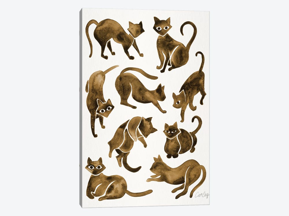 Cat Positions, Sepia by Cat Coquillette 1-piece Canvas Print