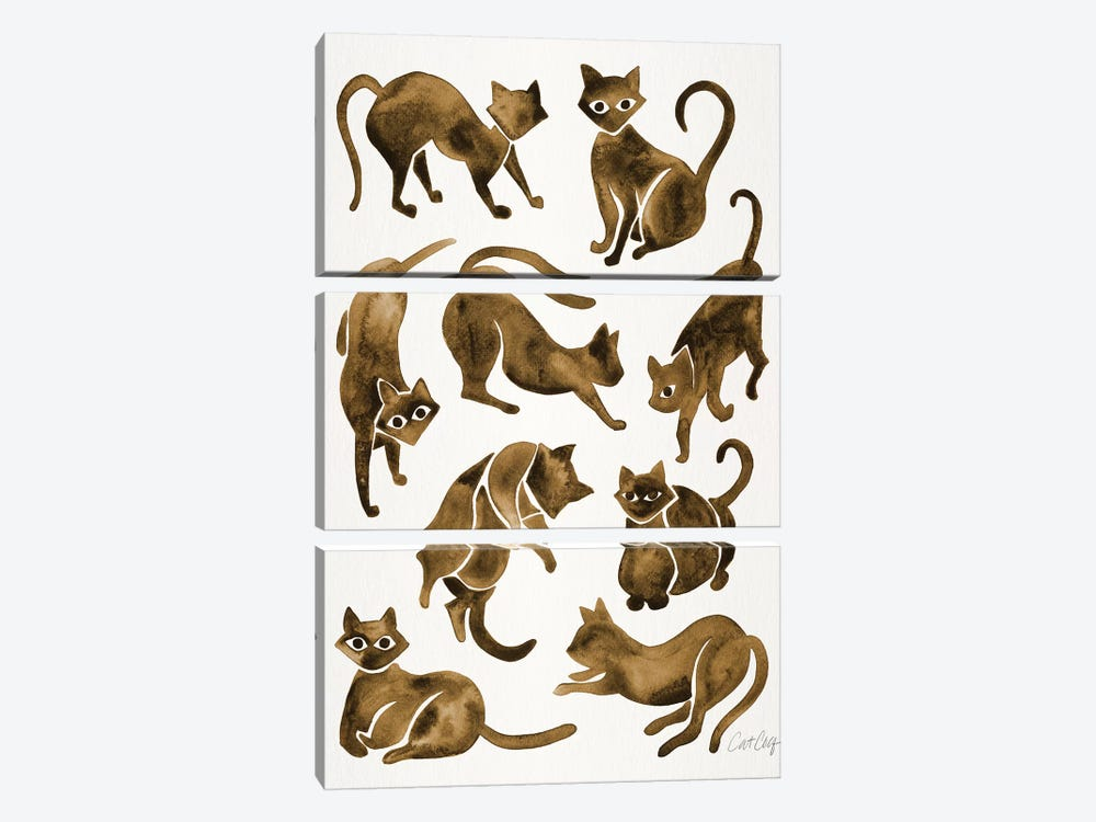 Cat Positions, Sepia by Cat Coquillette 3-piece Art Print
