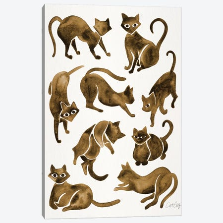 Cat Positions, Sepia Canvas Print #CCE291} by Cat Coquillette Canvas Art