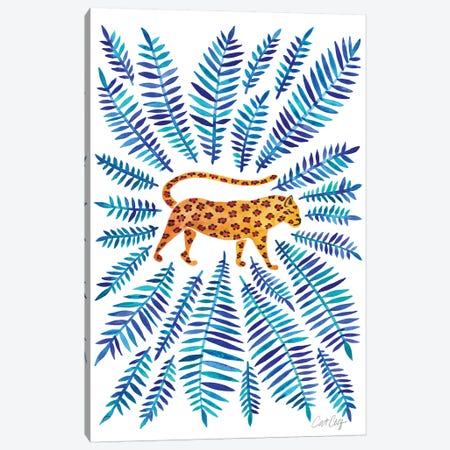 Jaguar, Blue Leaves Canvas Print #CCE293} by Cat Coquillette Canvas Art