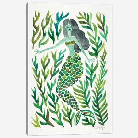 Kelp Forest Mermaid, Green Canvas Print #CCE294} by Cat Coquillette Canvas Art Print