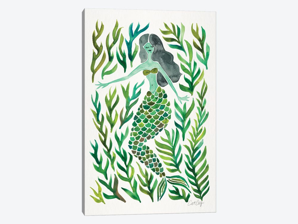 Kelp Forest Mermaid, Green by Cat Coquillette 1-piece Canvas Wall Art