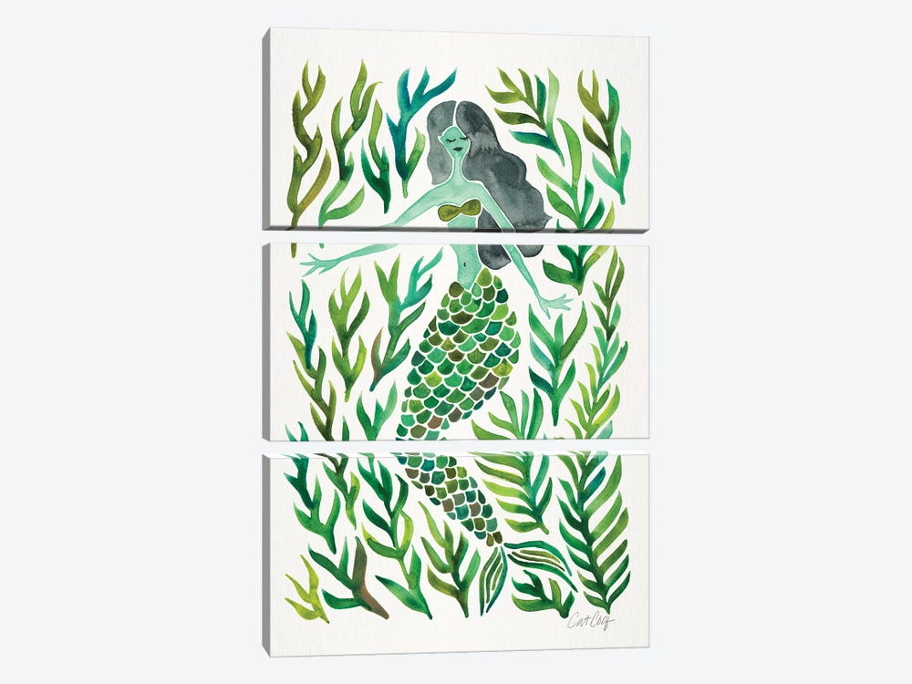 Kelp Forest Mermaid, Green by Cat Coquillette 3-piece Canvas Wall Art