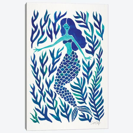 Kelp Forest Mermaid, Navy Canvas Print #CCE295} by Cat Coquillette Canvas Print