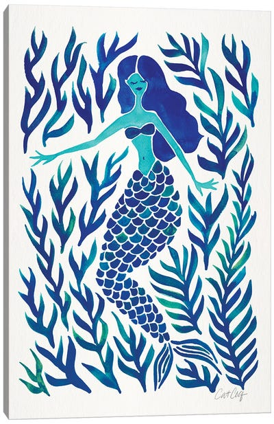 Kelp Forest Mermaid, Navy Canvas Art Print