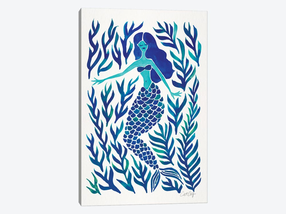 Kelp Forest Mermaid, Navy by Cat Coquillette 1-piece Art Print
