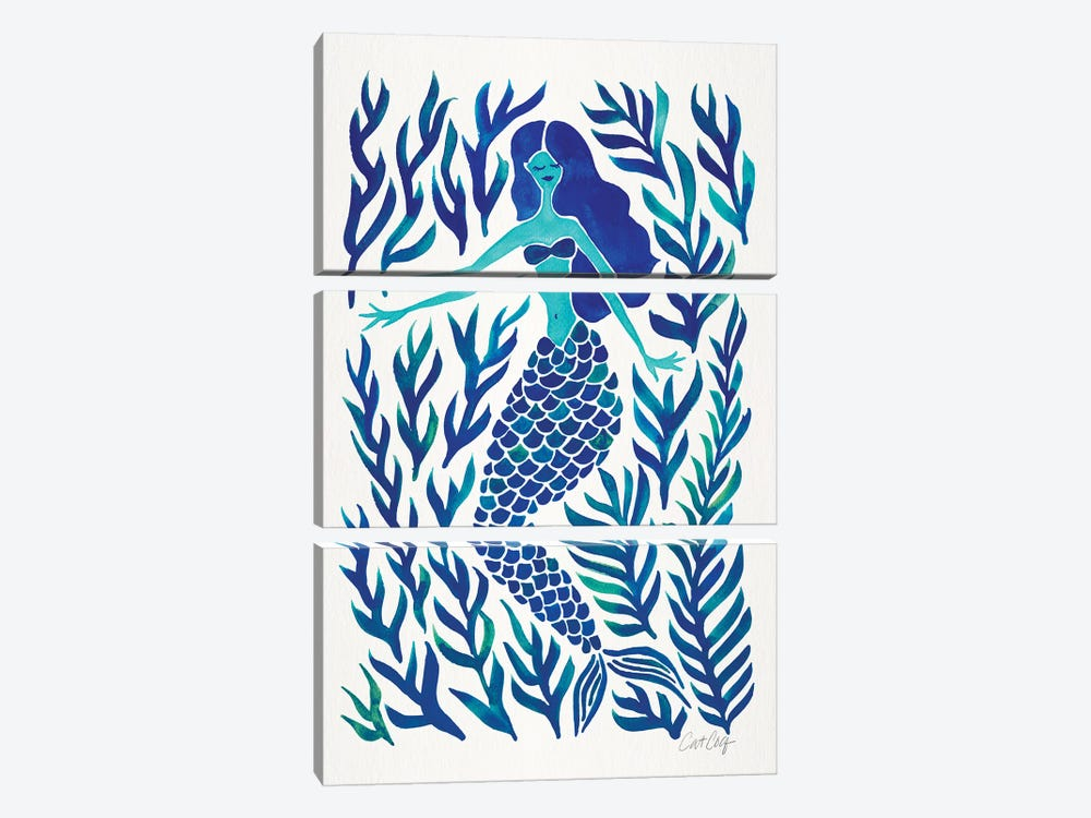 Kelp Forest Mermaid, Navy by Cat Coquillette 3-piece Canvas Art Print