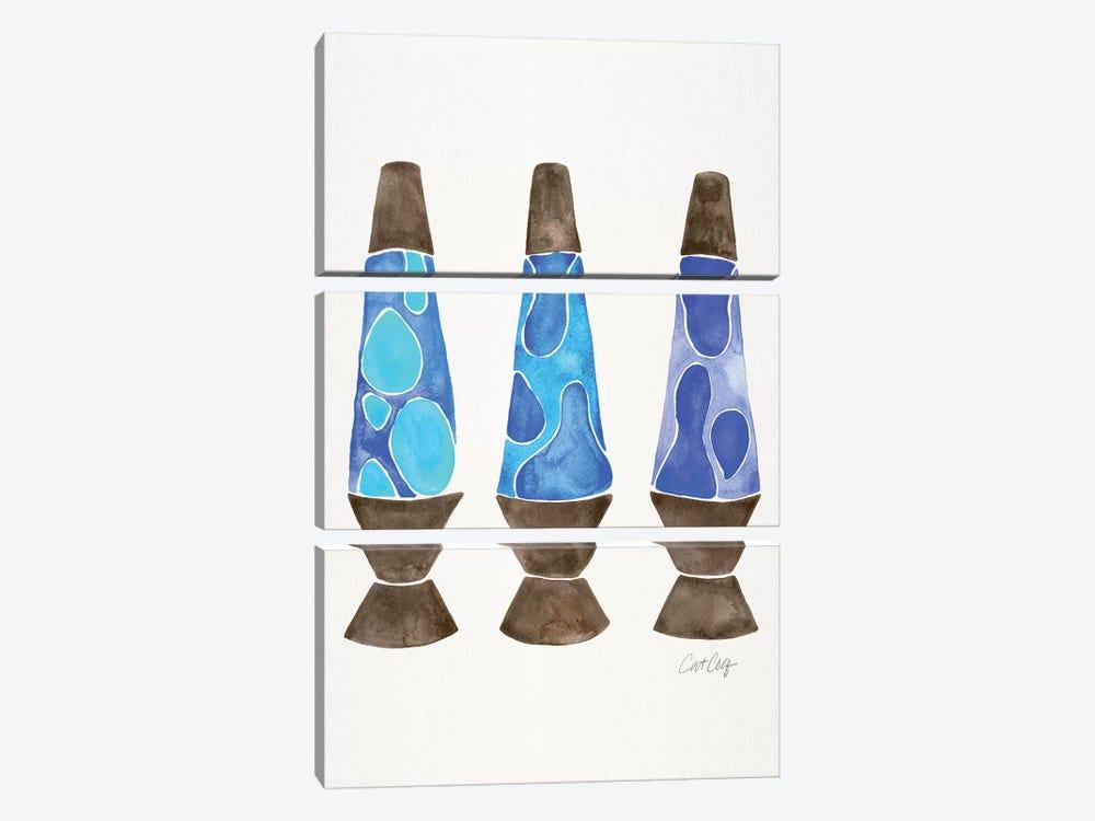 Lava Lamps, Blue by Cat Coquillette 3-piece Canvas Art
