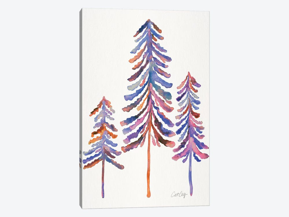 Pine Trees, 90s Palette by Cat Coquillette 1-piece Canvas Wall Art