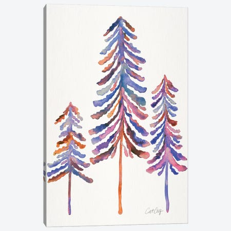 Pine Trees, 90s Palette Canvas Print #CCE298} by Cat Coquillette Canvas Art