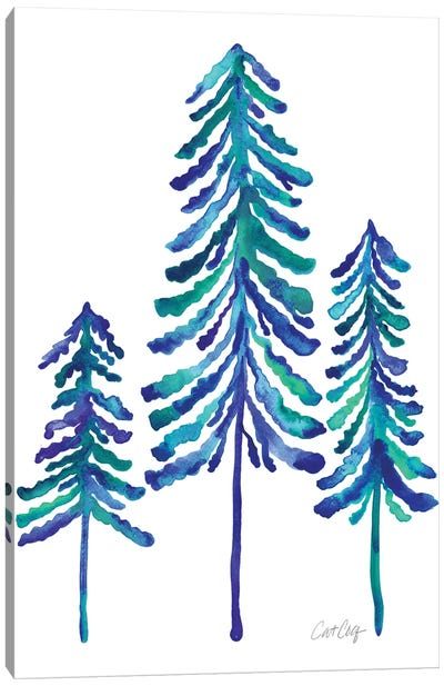Pine Trees, Blue Canvas Art Print