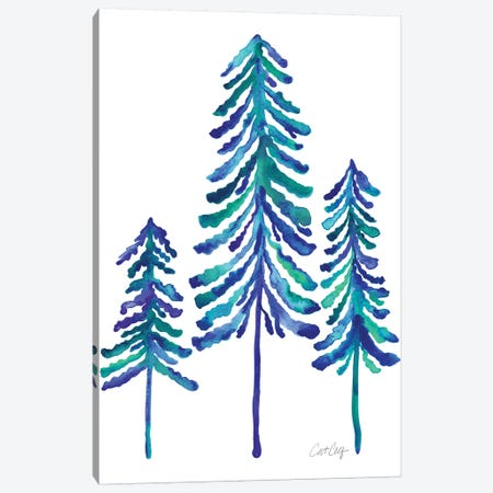 Pine Trees, Blue Canvas Print #CCE299} by Cat Coquillette Canvas Wall Art