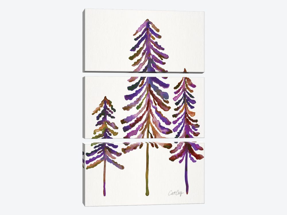 Pine Trees, Vintage by Cat Coquillette 3-piece Canvas Art