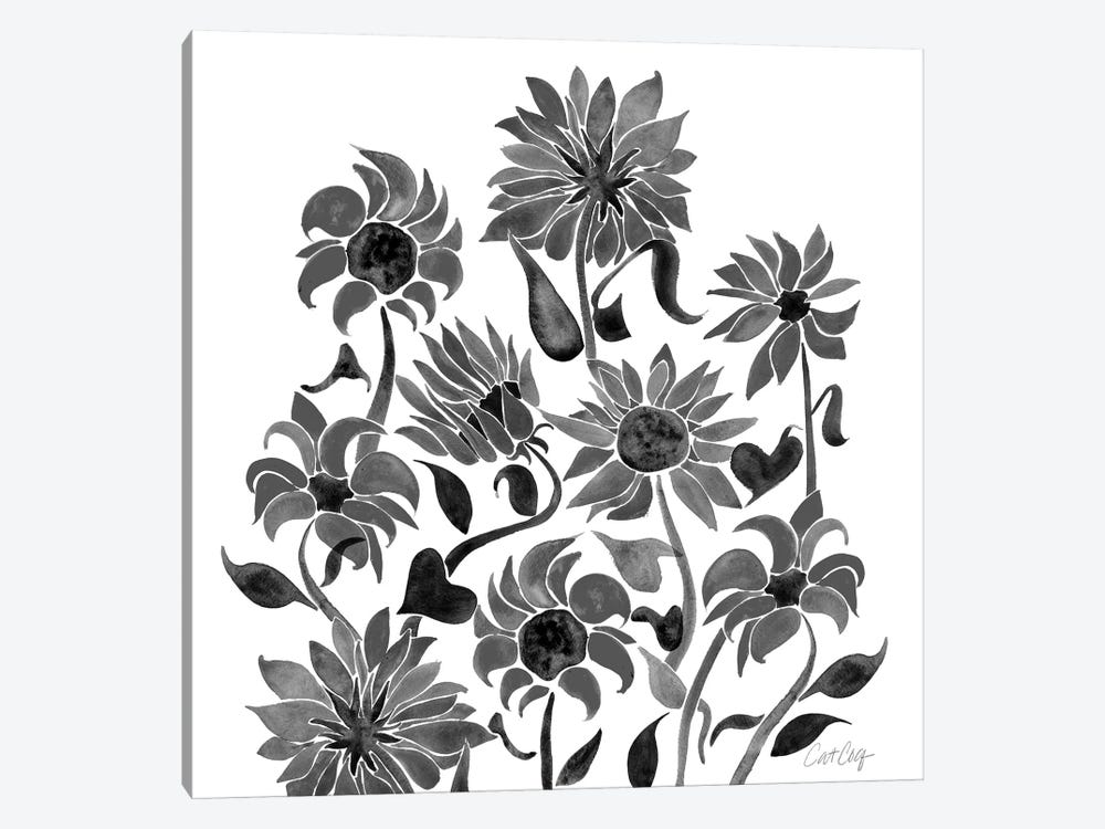 Sunflower Watercolor, Black by Cat Coquillette 1-piece Canvas Art Print
