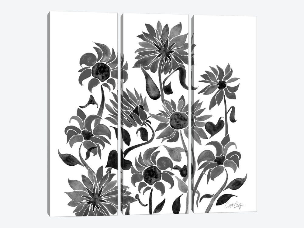 Sunflower Watercolor, Black by Cat Coquillette 3-piece Canvas Art Print