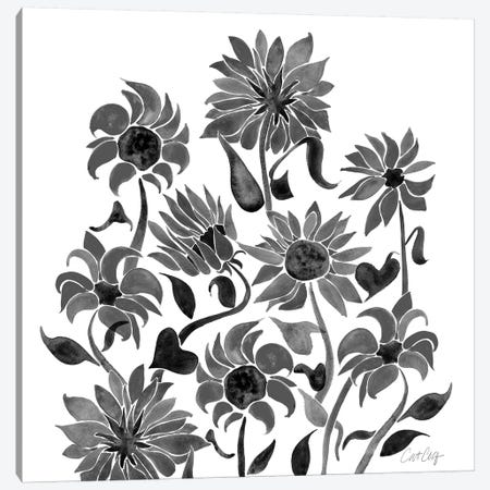 Sunflower Watercolor, Black Canvas Print #CCE301} by Cat Coquillette Canvas Wall Art