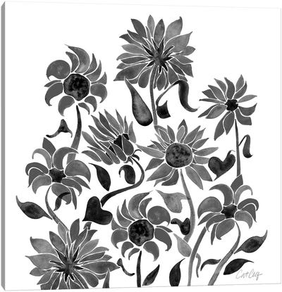 Sunflower Watercolor, Black Canvas Art Print