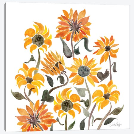 Sunflower Watercolor, Yellow Canvas Print #CCE303} by Cat Coquillette Canvas Art
