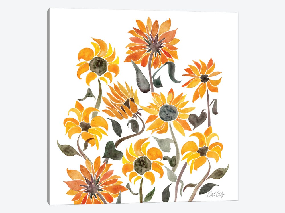 Sunflower Watercolor, Yellow by Cat Coquillette 1-piece Canvas Art Print