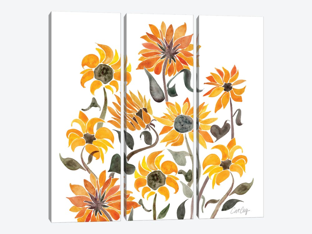 Sunflower Watercolor, Yellow by Cat Coquillette 3-piece Art Print