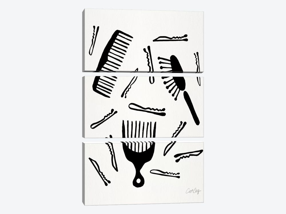 Good Hair Day, Black by Cat Coquillette 3-piece Canvas Wall Art